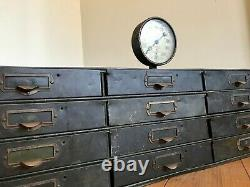 Vintage Card Catalog Cabinet Metal Twelve Drawer Antique Vintage Machinist