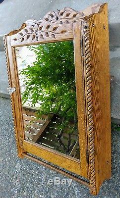 Vintage Chic Ornate Oak Medicine Apothecary Bathroom Kitchen Wall Cabinet Shabby
