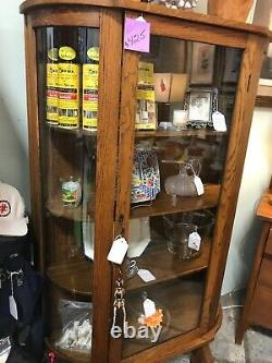 Vintage Curved Glass Oak China Or Display Cabinet Case Excellent
