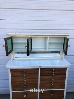 Vintage Dental Cabinet By American Cabinet Company With Green Glass Doors