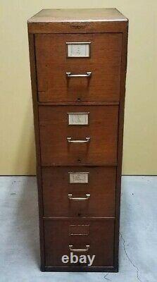 Vintage Early 20th Century Yawman and Erbe Mfg. Oak 4 Drawer Filing Cabinet