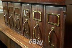 Vintage Filing Cabinet Allsteel Metal Card Catalog Vertical Drawers Brass Handle