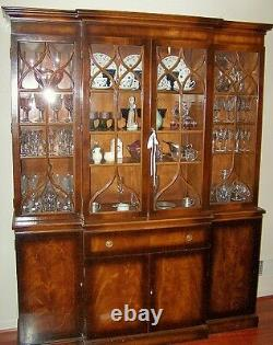 Vintage Flame Mahogany Breakfront China Cabinet withLeather Secretary Will Ship