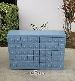 Vintage French Country Blue Apothecary Cabinet w 45 Drawers Farmhouse Industrial