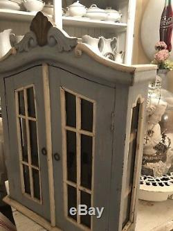 Vintage French Painted Wall Cabinet Spice Vitrine Display Curio Glass Curve Top