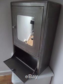 Vintage French industrial retro metal mirrored medicine bathroom cabinet loft