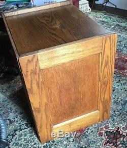 Vintage Golden Oak 10 Drawer Filing Cabinet Globe Library or Office File