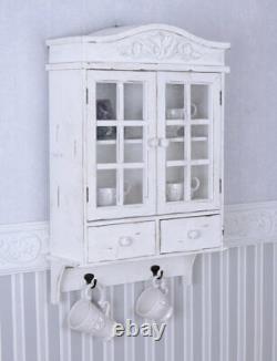 Vintage Hängeschrank weiss Schrank shabby chic Hängevitrine Wandschrank Holz neu