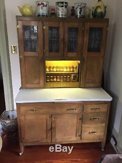 Vintage Hoosier Baking Kitchen Cabinet 1916 McDougall etched glass windows