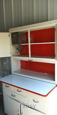 Vintage Hoosier Sellers White Wooden Kitchen Cabinet Roll Door Flour Bin