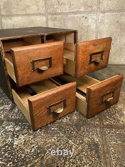 Vintage Index Card Filing Cabinet Wooden 4 Drawer In Fantastic Condition