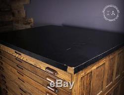 Vintage Industrial 15 Drawer Wooden Flat File Print Cabinet
