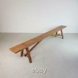 Vintage Industrial 19th Century Primitive Rustic Fruitwood Bench #2748