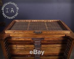 Vintage Industrial 25 Drawer Hamilton Flat File Printers Cabinet