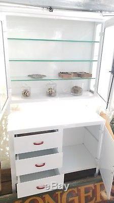 Vintage Industrial Medical Dental Glass Metal Cabinet