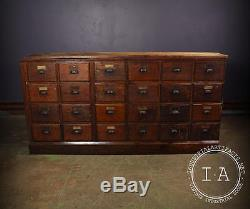 Vintage Industrial Oak Apothecary Storage Cabinet 24 Drawer