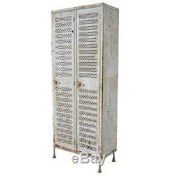 Vintage Industrial Painted Metal Double Door Gym School Storage Lockers Cabinets
