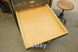 Vintage Industrial Rolling Cabinet Workbench Steel Drawers Flat Files Map Tool