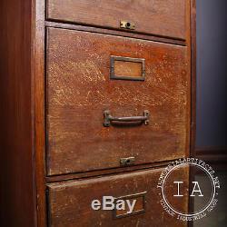 Vintage Industrial Shaw Walker 4 Drawer Wooden File Cabinet