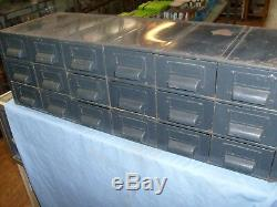 Vintage Industrial Steel 18 Drawer Parts Cabinet Index Card Office Pittsburgh Pa