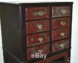 Vintage Industrial Steel Dental or Medical Cabinet w Accessory Drawers