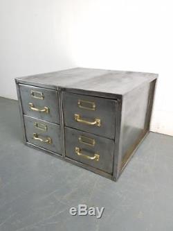 Vintage Industrial Stripped Steel 4 Drawer Filing Cabinet #2275