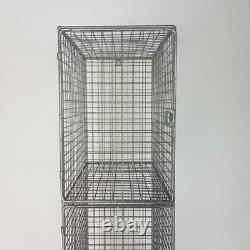 Vintage Industrial Wire Mesh Locker Shelving Unit 4 Compartments #2628