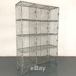Vintage Industrial Wire Mesh Lockers Shelving Unit Pigeon Holes #2569