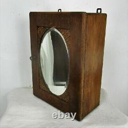 Vintage Kitchen Apothecary Medicine Bathroom Cabinet Oak Oval Beveled Mirror