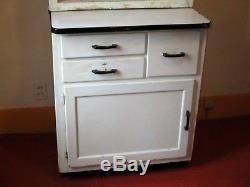 Vintage Kitchen Cabinet, Glass Doors, Enamel Top Slides, Clean, Small Hoosier