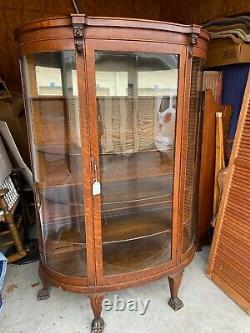 Vintage Large Fancy Oak Carved Bow Front China Display Curio Cabinet