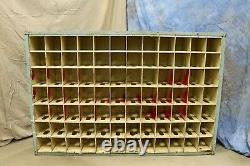 Vintage Large Over 5ft Wide Metal Post Office Mail Box Sorter with 84 Slots