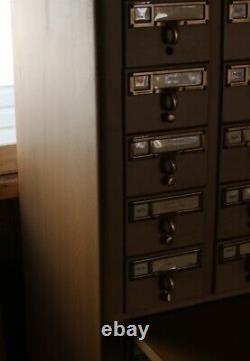 Vintage Library Bureau 60 Drawer Card File Cabinet Library Card Catalog