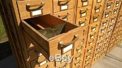 Vintage Library Card Catalog 20 Drawer Oak Cabinet