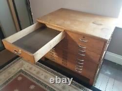 Vintage Mayline Oak Flat File Cabinet