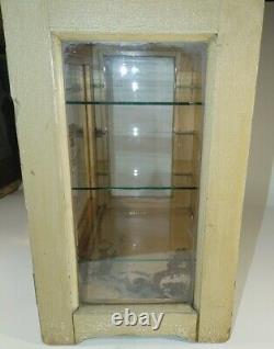 Vintage Medical Antiseptic Sterilizer Wood Cabinet + Vintage Barber accessories