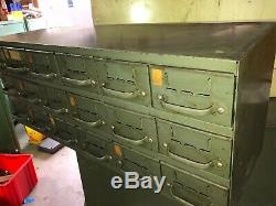 Vintage Metal Equipto Industrial Organizer Cabinet 18 Drawers Storage Hardware