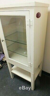 Vintage Metal Steel Medical /Dental Cabinet Display Glass Shelves Industrial