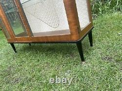 Vintage Mid Century Antique Glass Display China Cocktail Drinks Cabinet