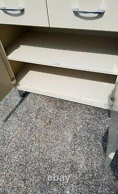 Vintage Mid Century Medical Dental Apothecary Industrial Cabinet with keys