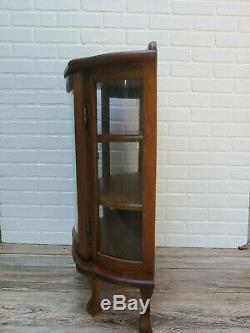 Vintage Miniature Curved Glass Wood Curio Cabinet Display Case 33'' High