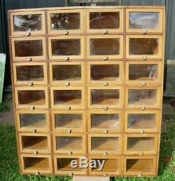 Vintage Multi Drawer Apothecary Seed Hardware Storage Cabinet