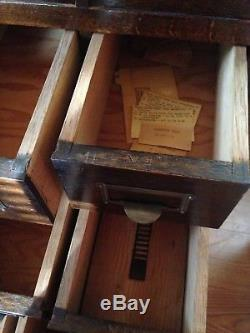 Vintage OAK LIBRARY CARD CATALOG Custom 1940s HUNTINGTON LIBRARY Cabinet Table