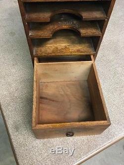 Vintage Oak 1 Drawer 3 Filer Table Top File Cabinet Box THE SP RICHARDS PAPER CO
