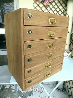 Vintage Oak Filing Cabinet Collectors Drawers Watchmakers Engineers Tool Chest