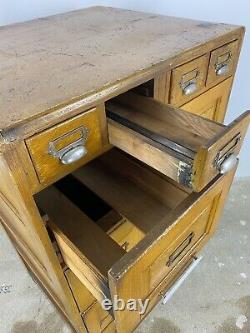 Vintage Oak Filing Cabinet Mid-Century Haberdashery, Office Storage Unit