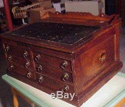 Vintage Oak Six Drawer Merrick Thread Spool Sewing Cabinet Desk