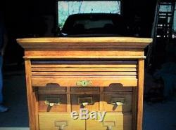 Vintage Original Oak 18 Drawers Library Card Cabinet with Roll Top Closure