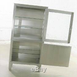 Vintage Petite Stainless Steel Industrial or Medical Display Storage Cabinet PR