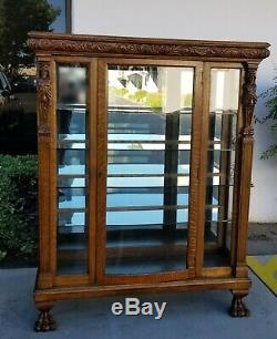 Vintage R. J. Horner Style French Country Oak Carved Curio Display Cabinet Claw